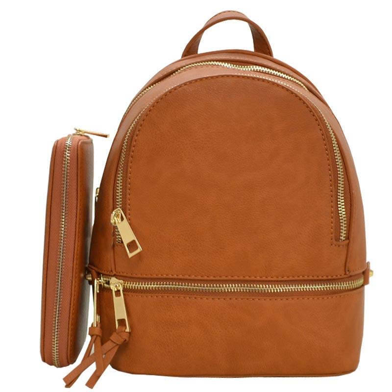 Fashion Small Backpack with Wallet TAN