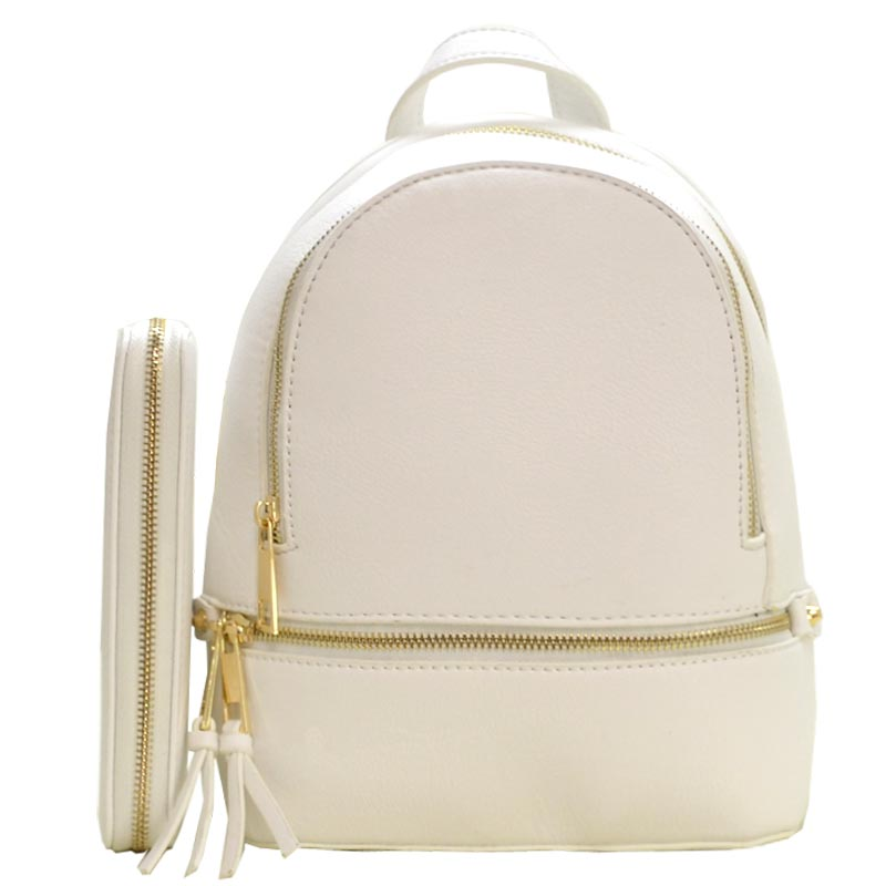 Fashion Small Backpack with Wallet White