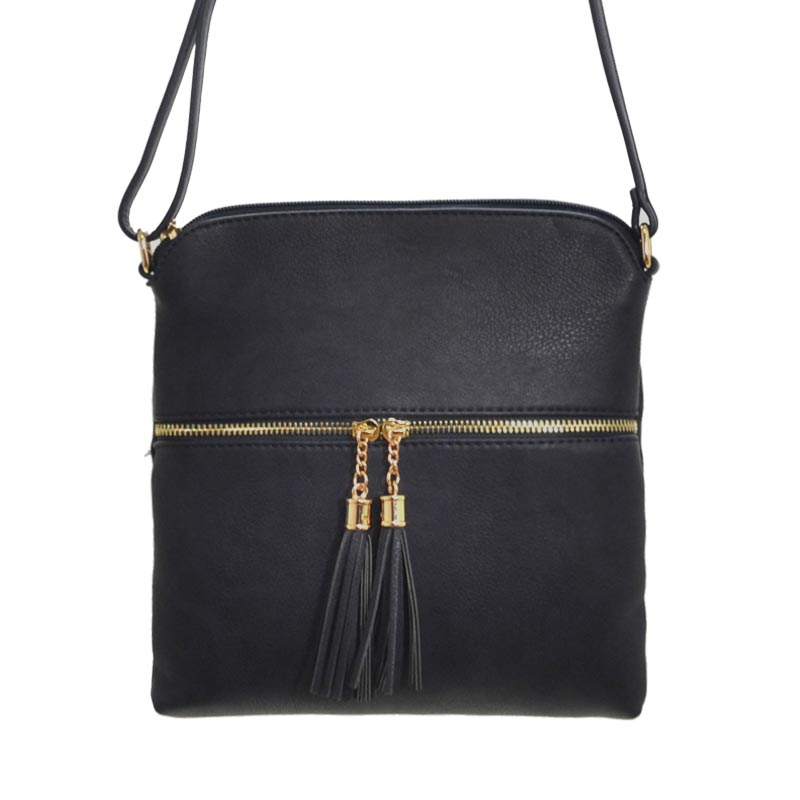 Tassel Accent Messenger Bag Black