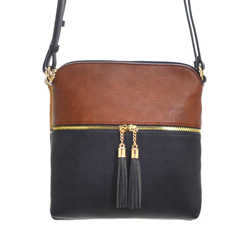 Tassel Accent Messenger Coffee/Deep Sea