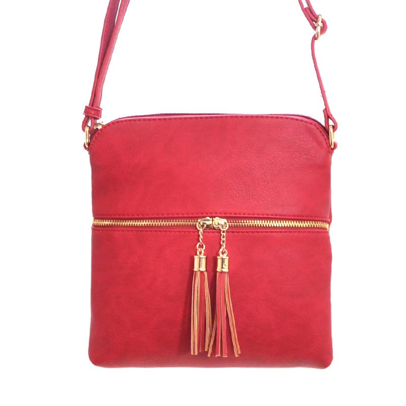 Tassel Accent Messenger Red