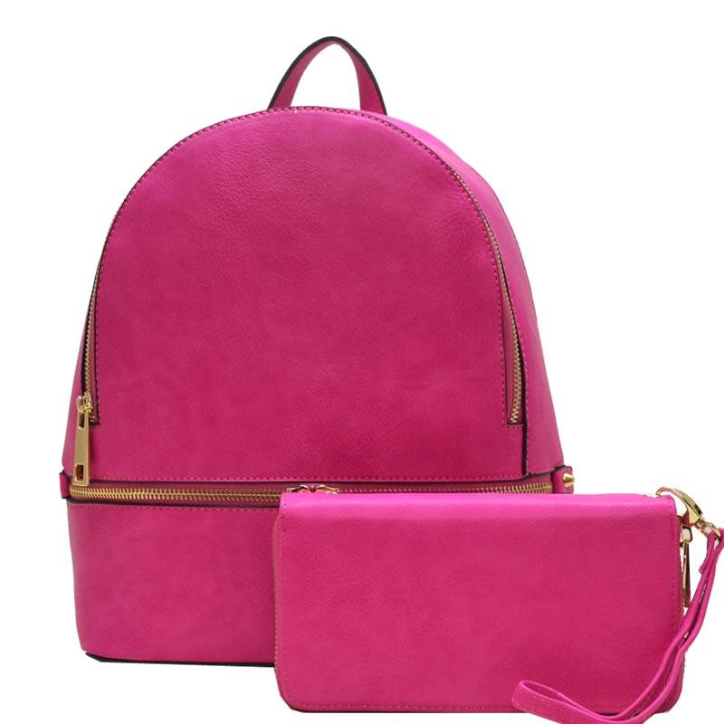 e77d599f0828 Wallet Set Fashion Backpack Fuchsia