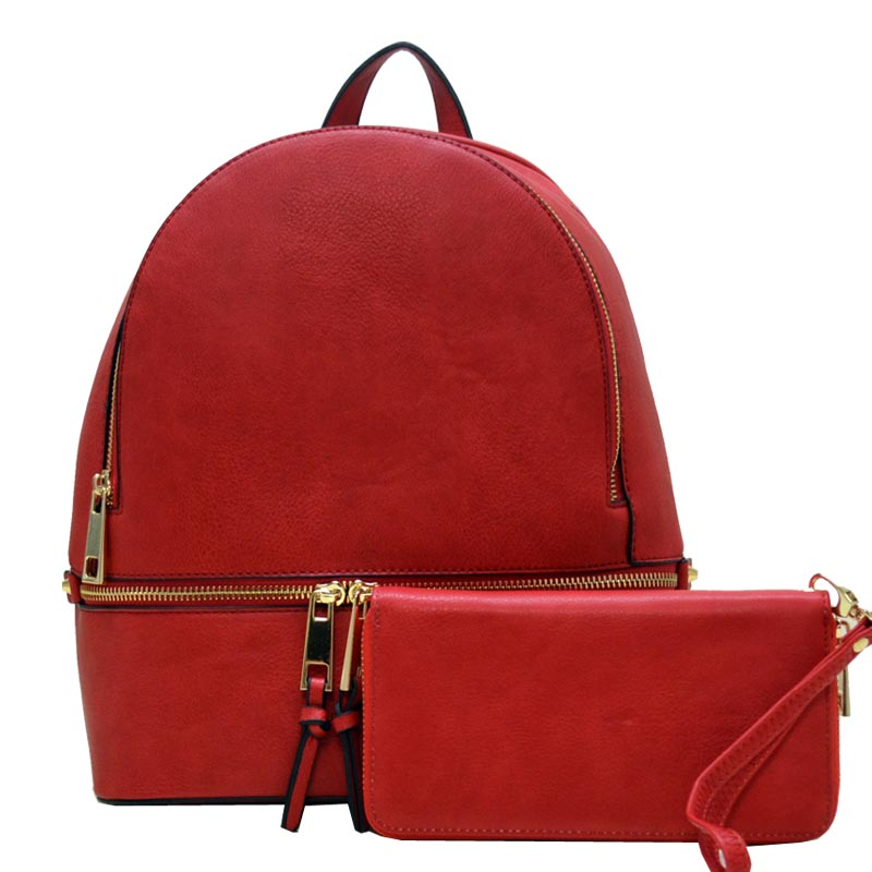 Wallet Set Fashion Backpack Red