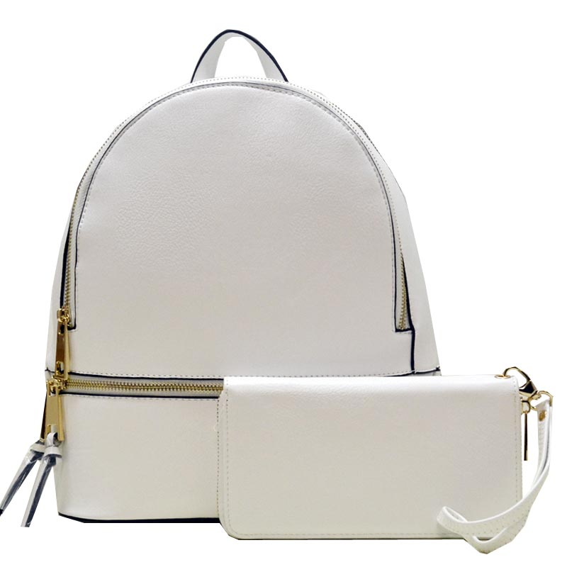 Wallet Set Fashion Backpack White
