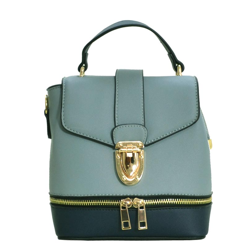 Zipper Accent 2 way Medium Satchel (BGY/BGY/NV)