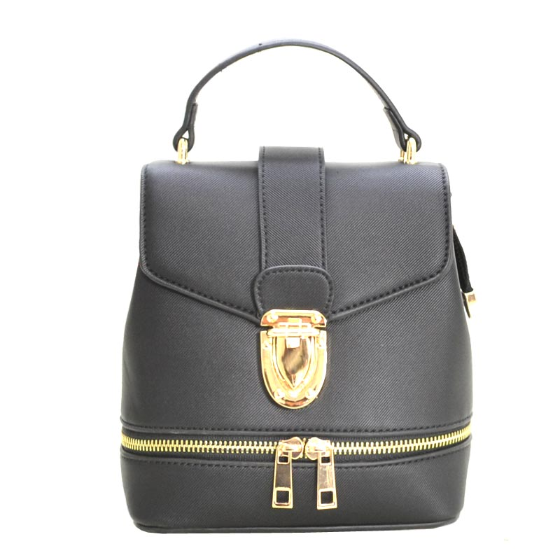 Zipper Accent 2 way Medium Satchel (BK/BK/BK)