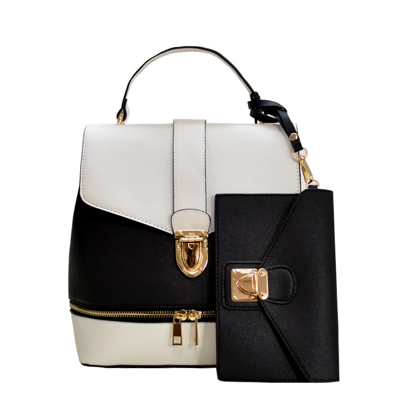 Color Blocked Fashion Backpack Black/White
