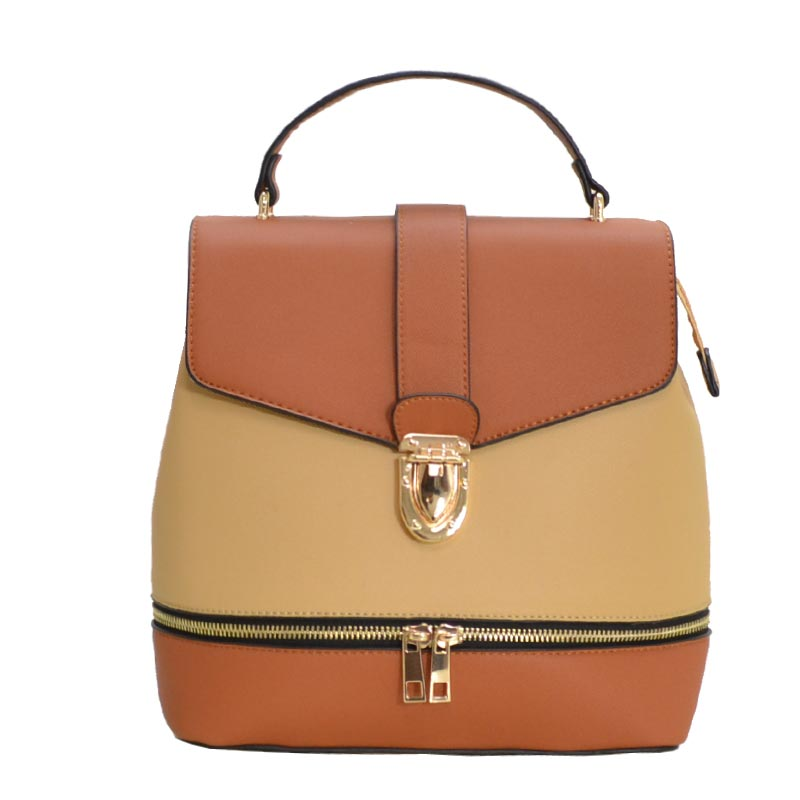 Color Blocked Fashion Backpack Tan/Brown