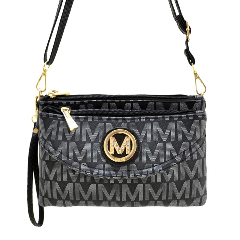 Milan Collection M Signature Women's Crossbody Handbag Black