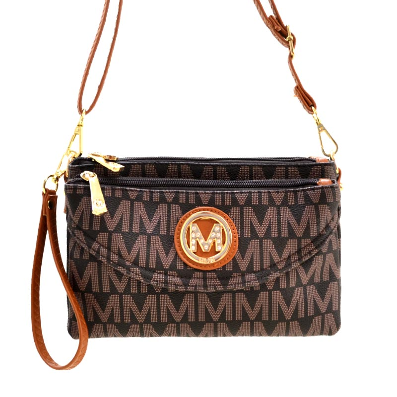 Milan Collection M Signature Women's Crossbody Handbag Chocolate