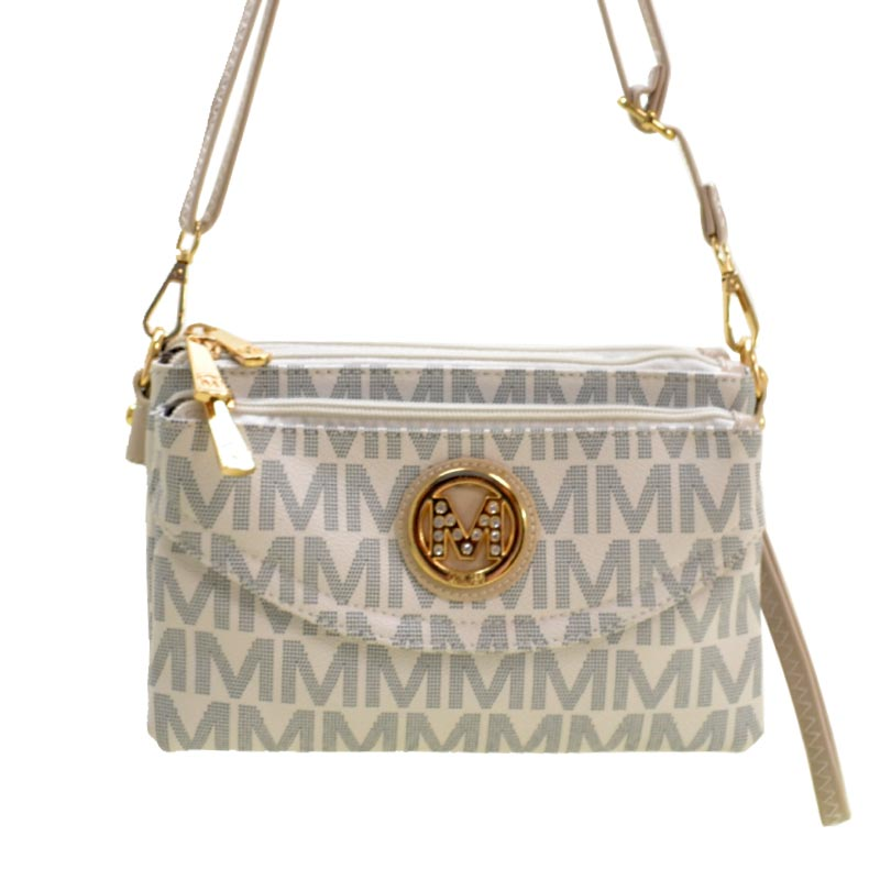 Milan Collection M Signature Women's Crossbody Handbag White