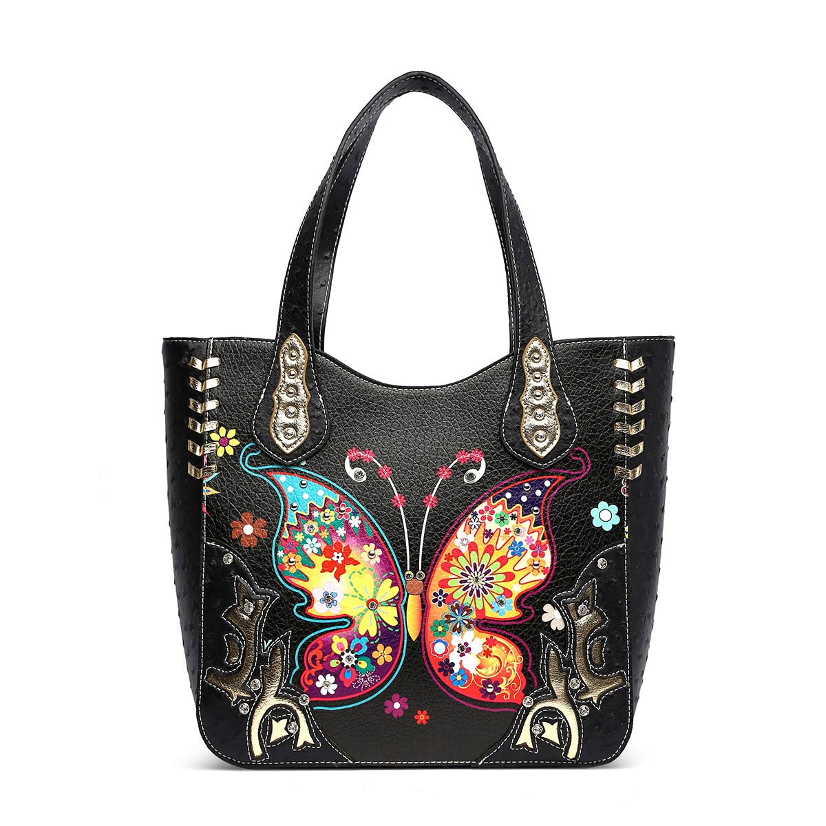 Western butterfly Tote Bag Black