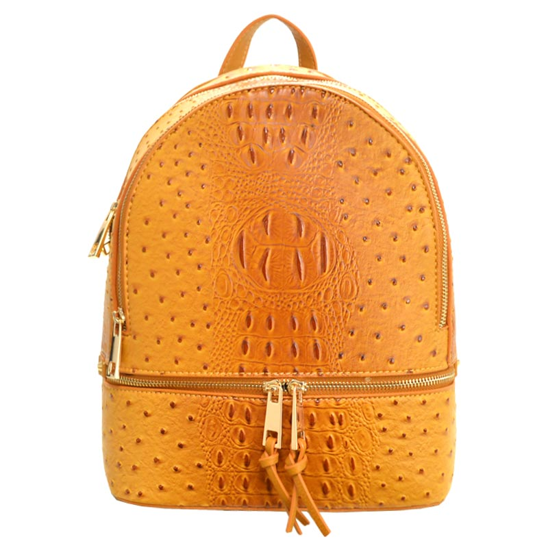 Wallet Set Ostrich Fashion Backpack Mustard