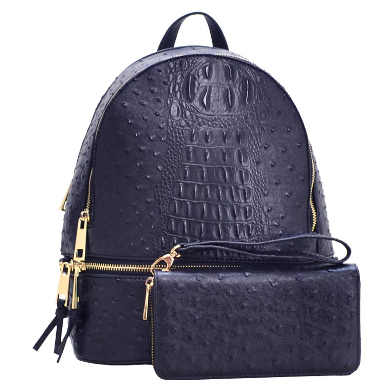 Wallet Set Ostrich Fashion Backpack Navy