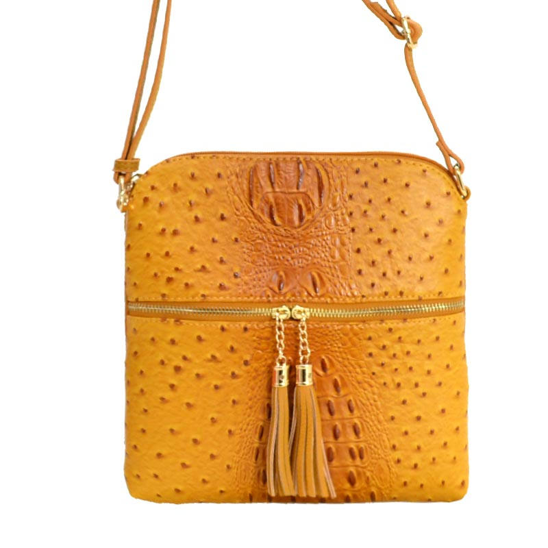 Ostrich Skin Textured Cross Body Bag Mustard