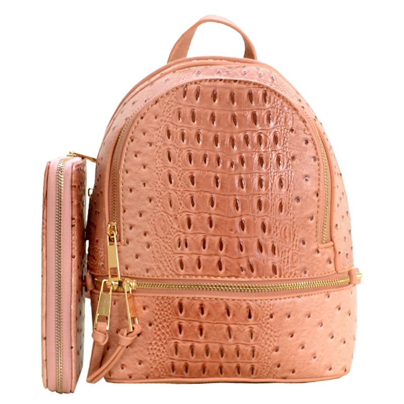 Ostrich Leather Small Backpack and Wallet Rose Pink