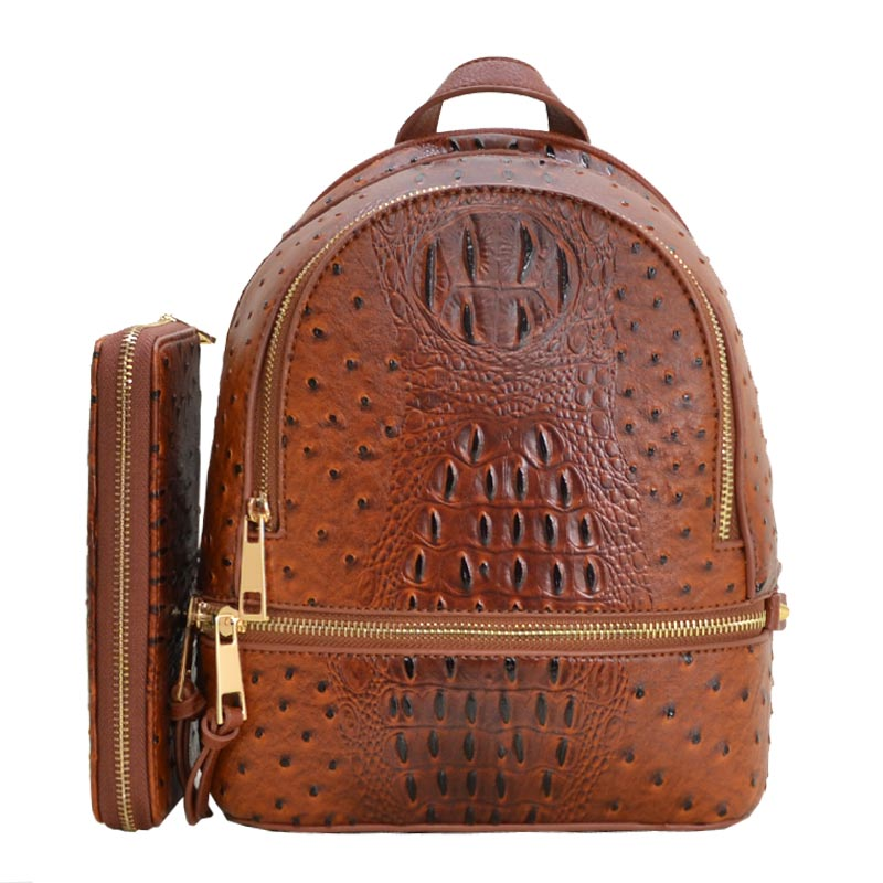 Ostrich Leather Small Backpack and Wallet Tan
