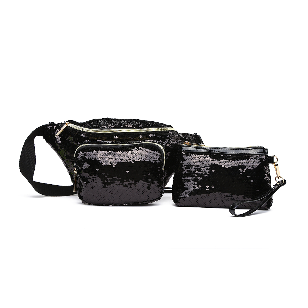 Glitter Bum Waist Fanny Pack with Money Bag Black