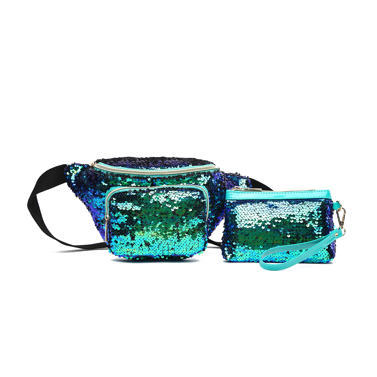 Glitter Bum Waist Fanny Pack with Money Bag Emerald