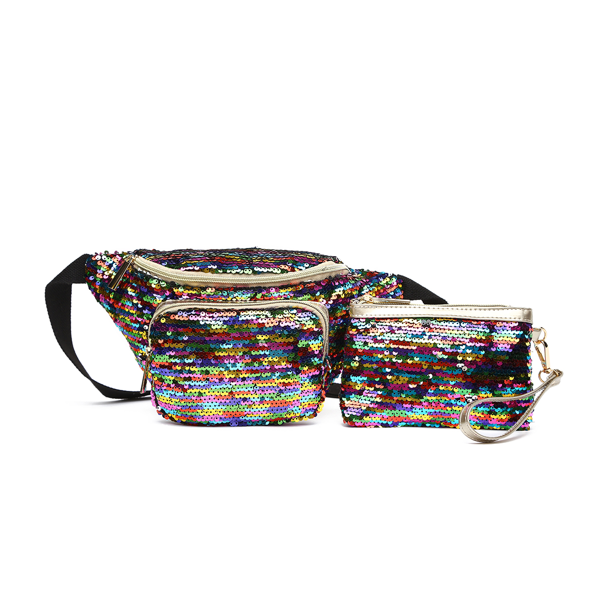 Glitter Bum Waist Fanny Pack with Money Bag Multi1
