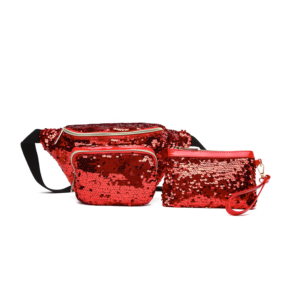 Glitter Bum Waist Fanny Pack with Money Bag Red
