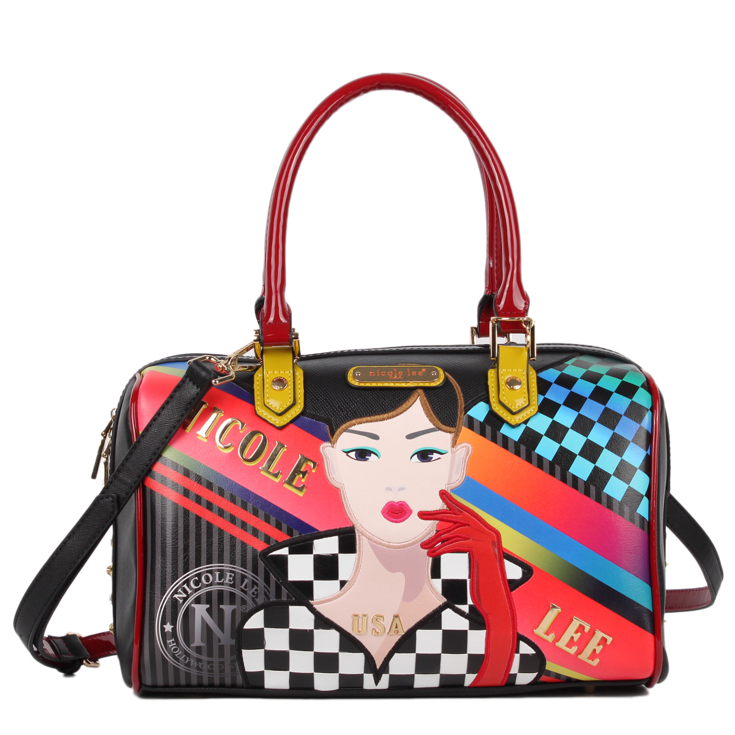 RACING GIRL PRINT BOSTON BAG