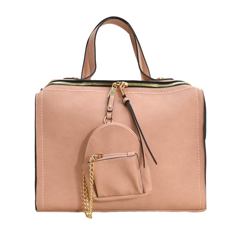 Stitch Accent Soft Touch Satchel With Matching Pouch Blush