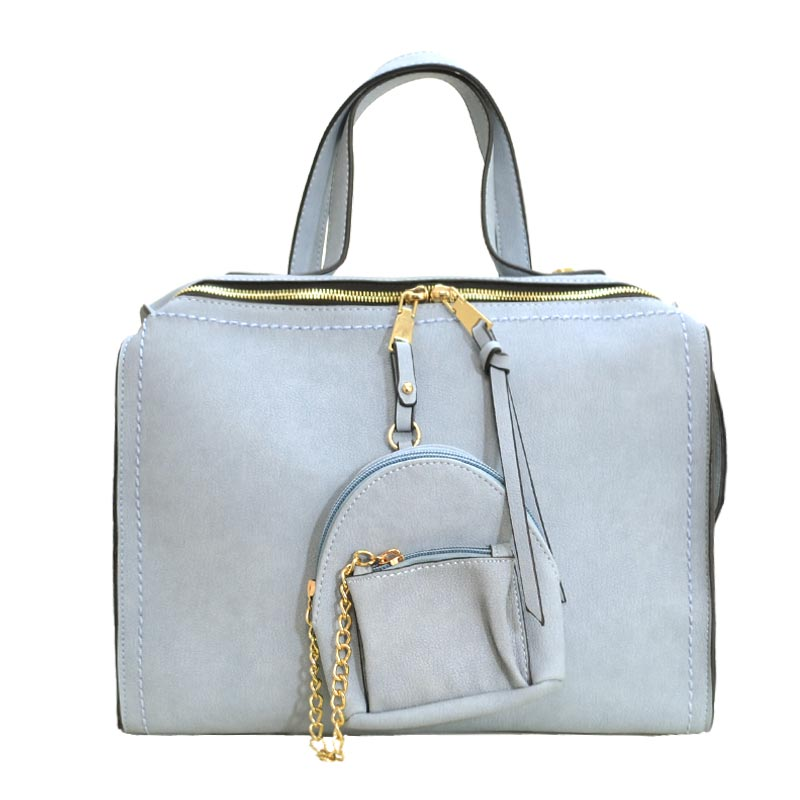 Stitch Accent Soft Touch Satchel With Matching Pouch Light Blue