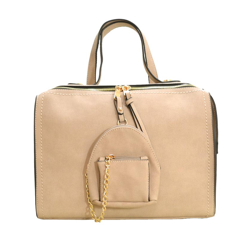 Stitch Accent Soft Touch Satchel With Matching Pouch Stone