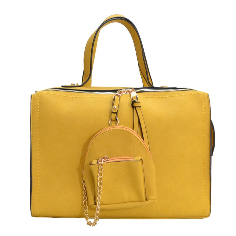 Stitch Accent Soft Touch Satchel With Matching Pouch Yellow