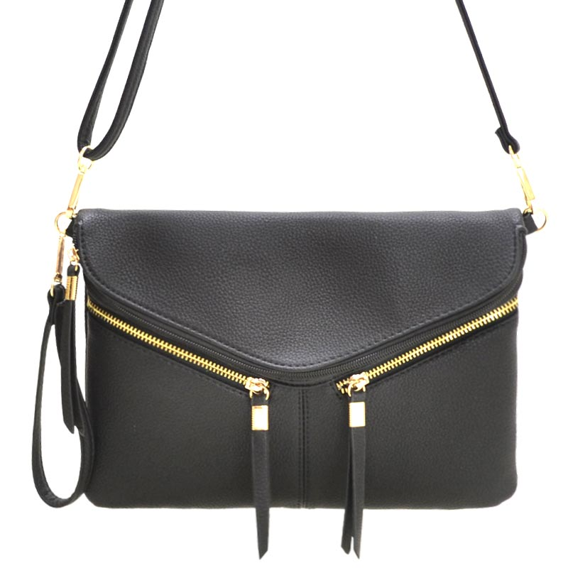 Front Zipper Decorated Cross Body Bag Black
