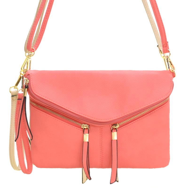 Front Zipper Decorated Cross Body Bag Coral