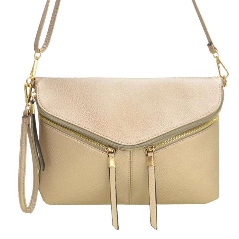 Front Zipper Decorated Cross Body Bag Gold