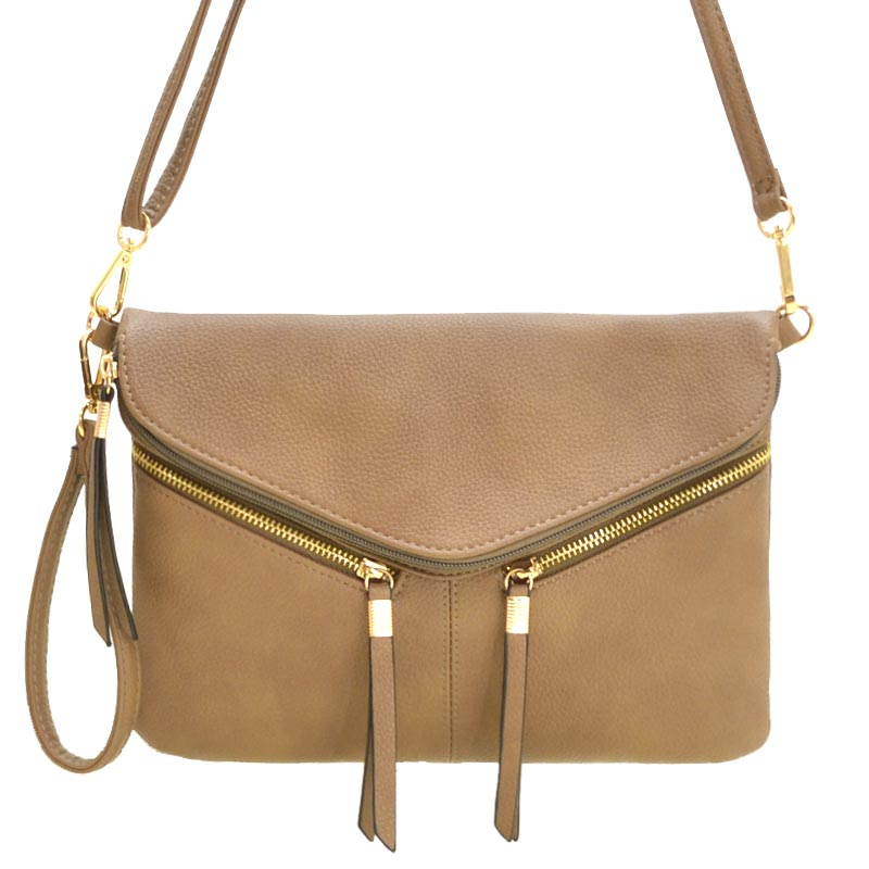 Front Zipper Decorated Cross Body Bag Khaki