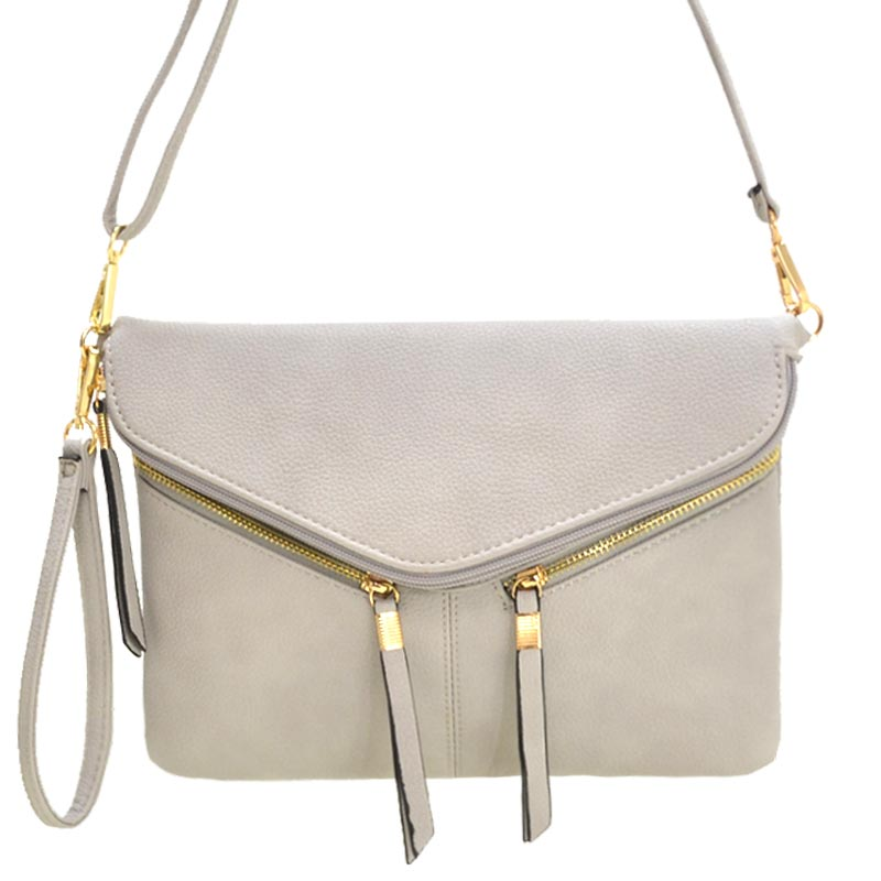 Front Zipper Decorated Cross Body Bag Light Grey
