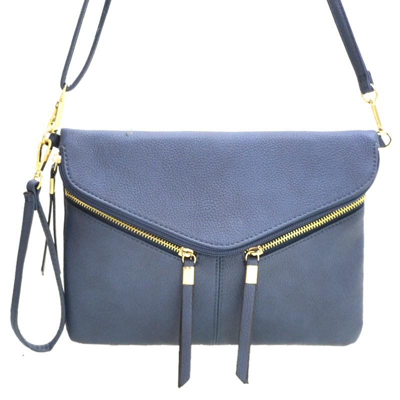 Front Zipper Decorated Cross Body Bag Navy