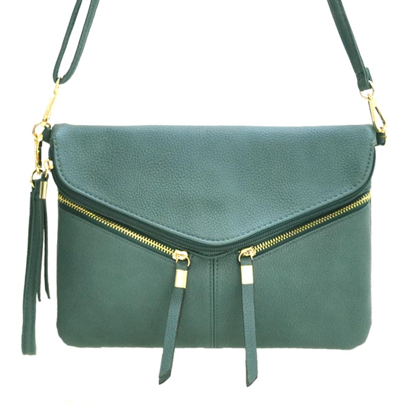 Front Zipper Decorated Cross Body Bag Olive