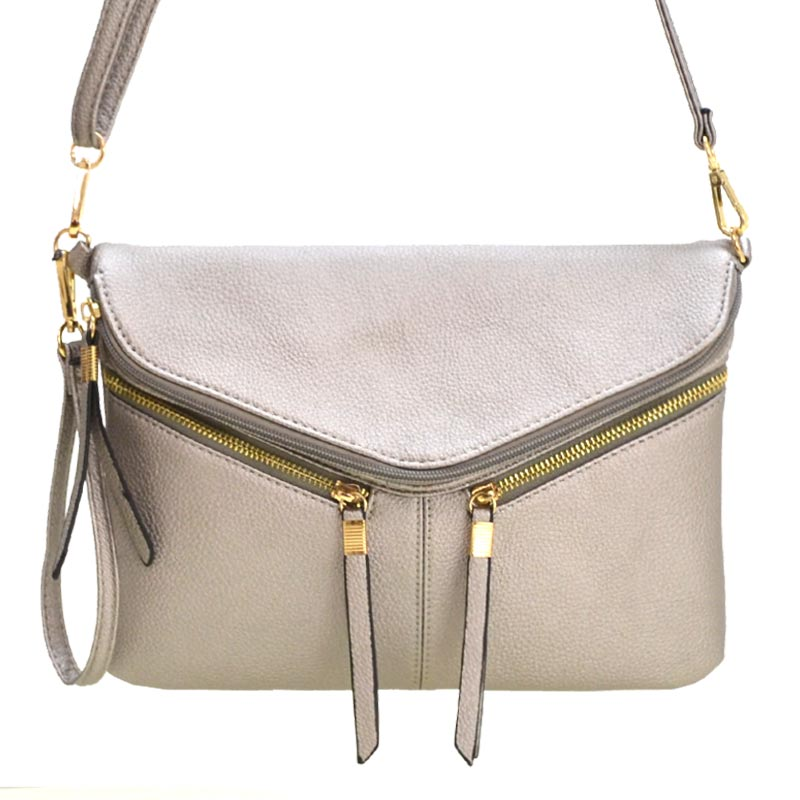 Front Zipper Decorated Cross Body Bag Pewter