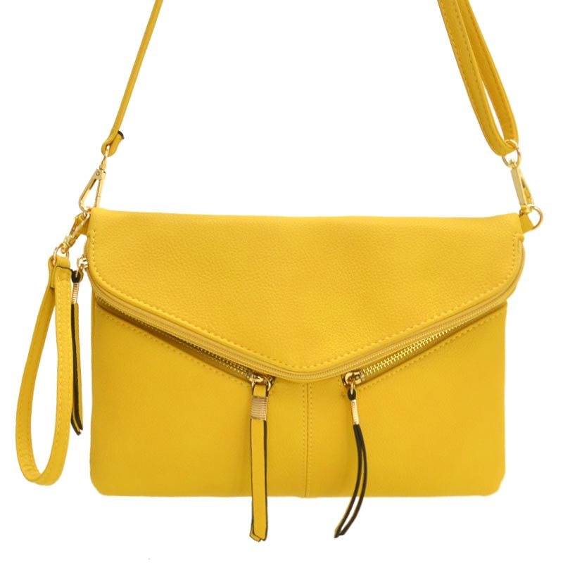 Front Zipper Decorated Cross Body Bag Yellow