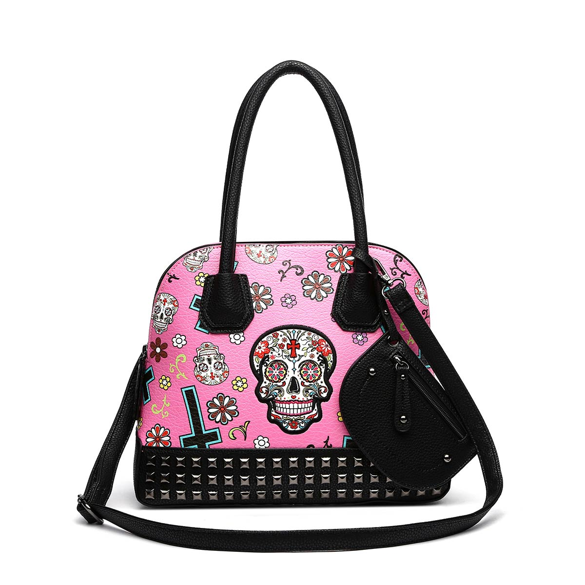'Skull & Cross' Print With Coin Wallet Fuchsia