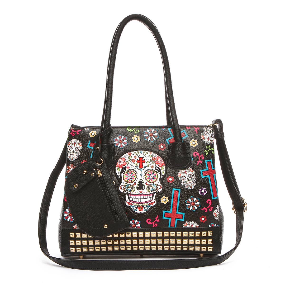 Western Cowgirl Skull Tote Bag With Pouch Black