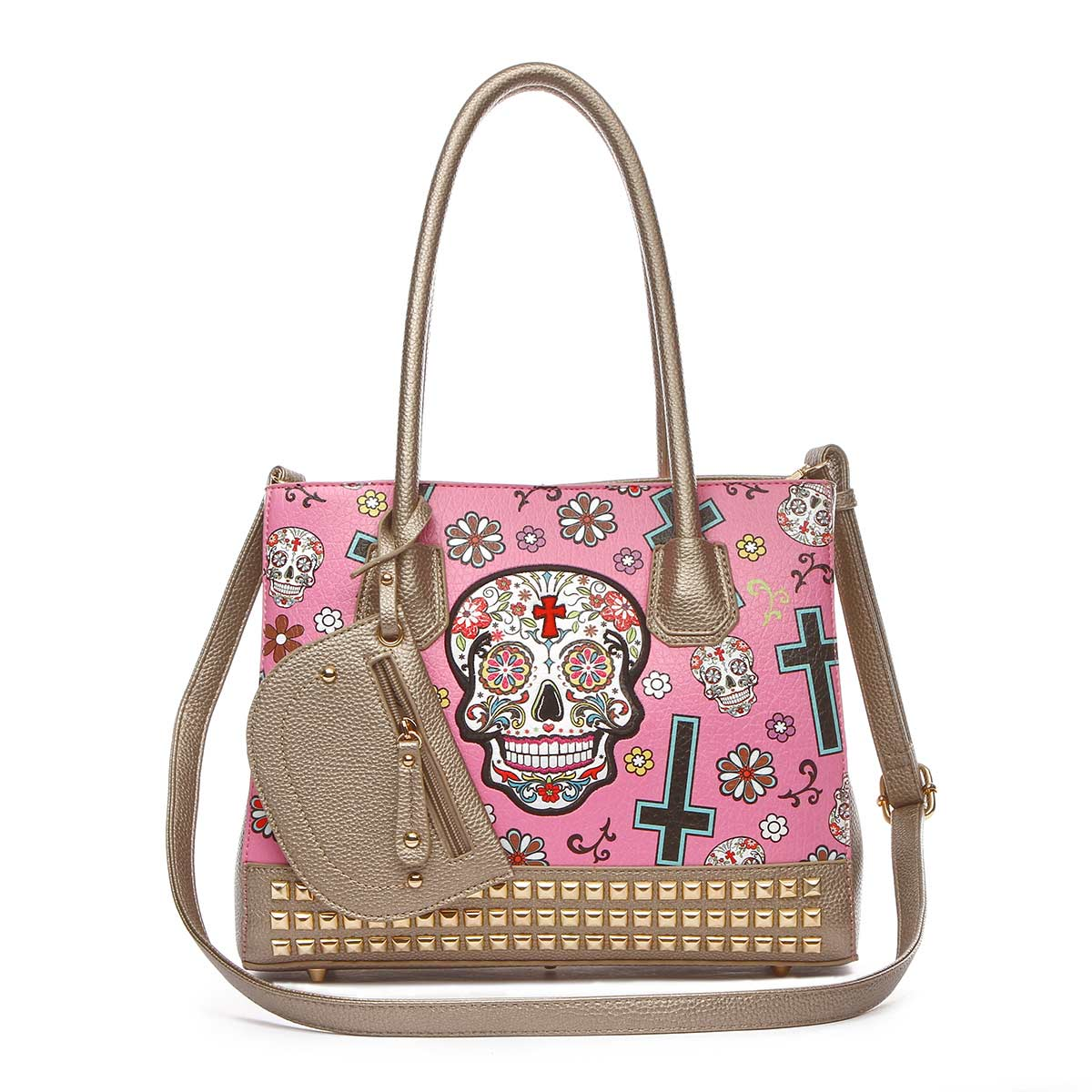 Western Cowgirl Skull Tote Bag With Pouch Fuchsia