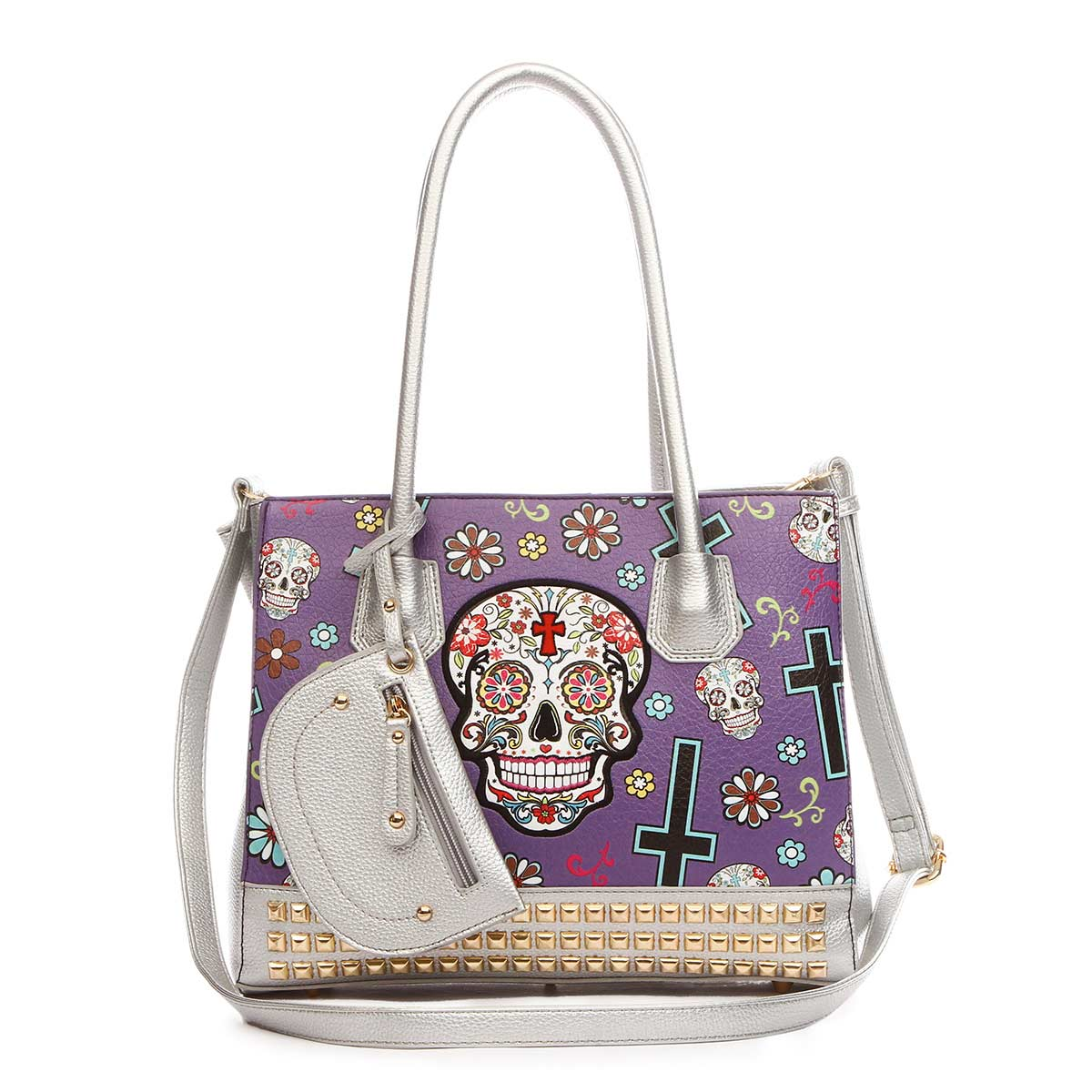 Western Cowgirl Skull Tote Bag With Pouch Purple