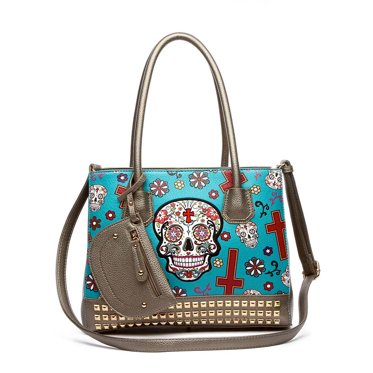 Western Cowgirl Skull Tote Bag With Pouch Teal
