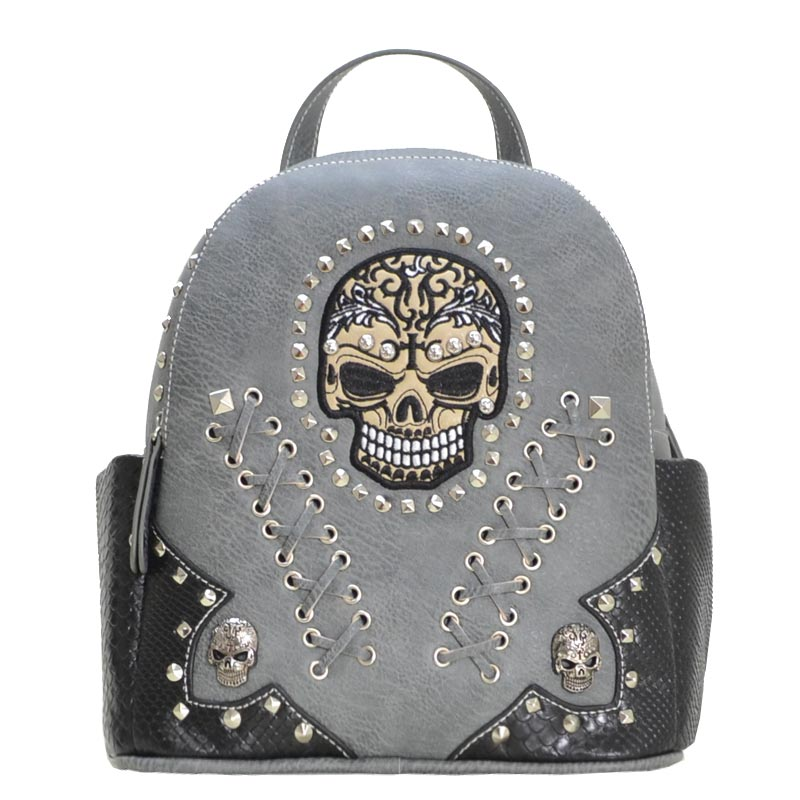 Biker Skull backpack Grey