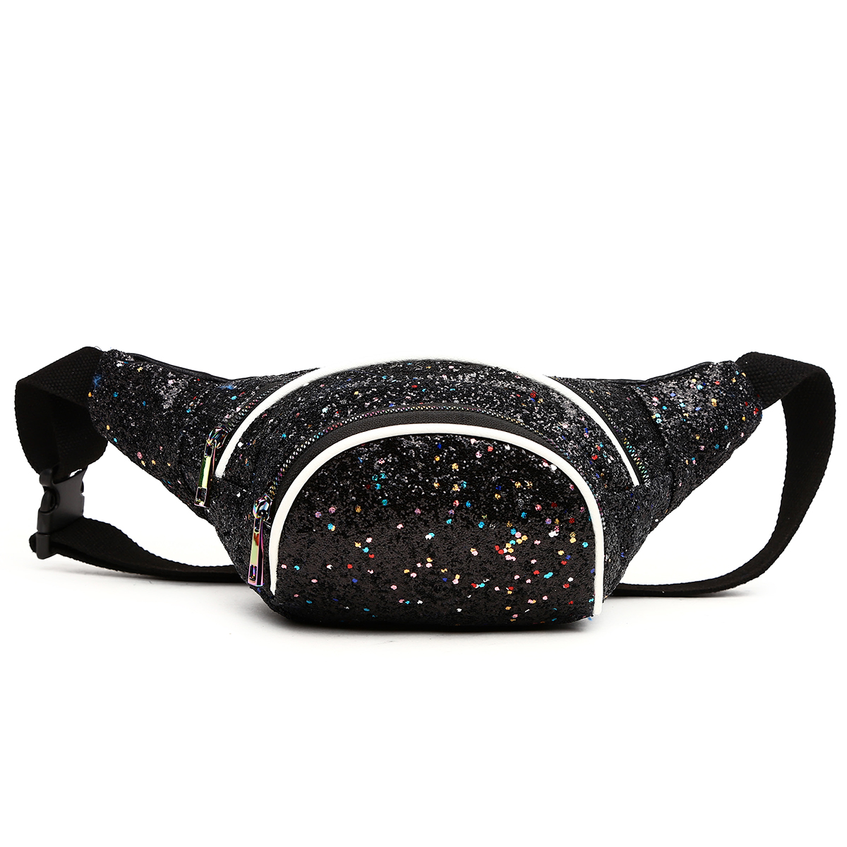 Glittered Fanny Pack Black/White