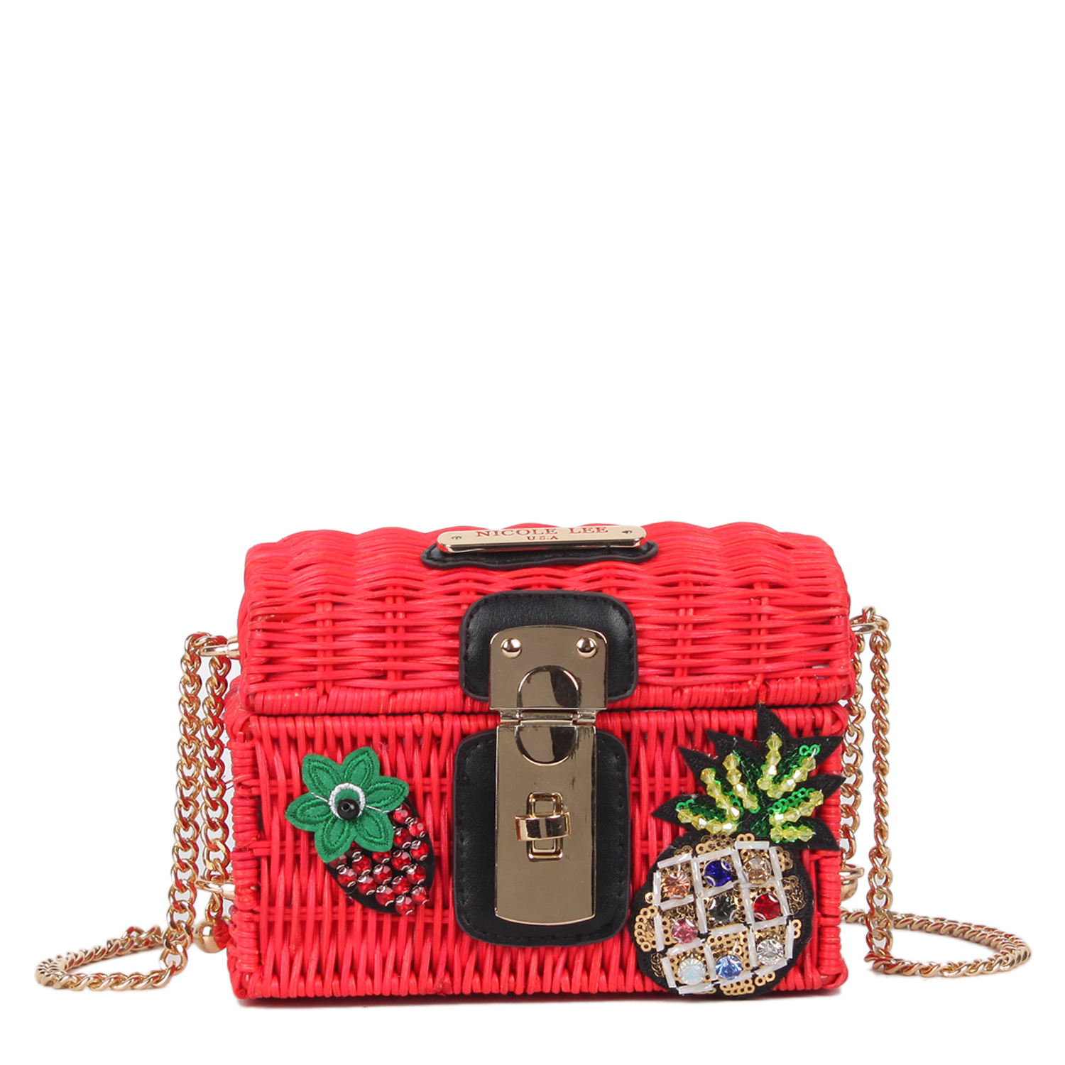 Nicole Lee Straw Satchel Red