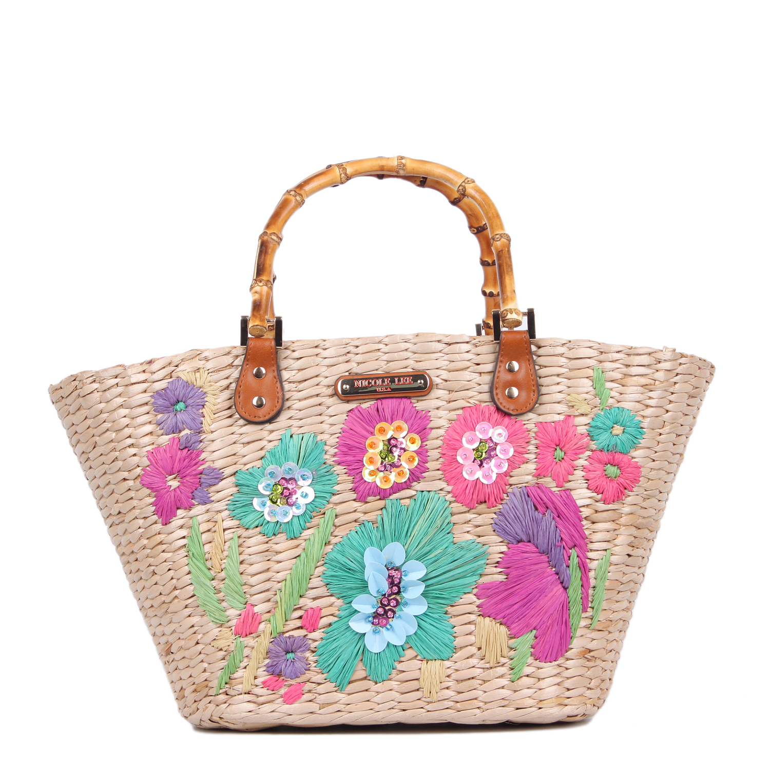 Nicole Lee Flower Emboidered Straw Tote Bag Blue