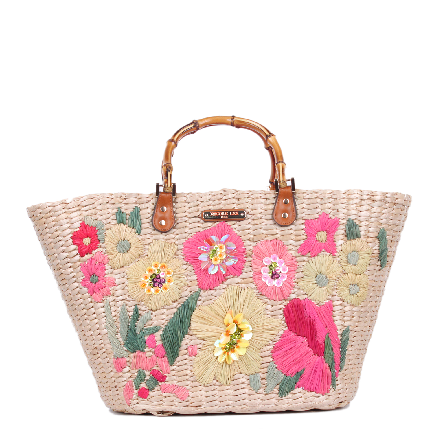 Nicole Lee Flower Emboidered Straw Tote Bag Pink