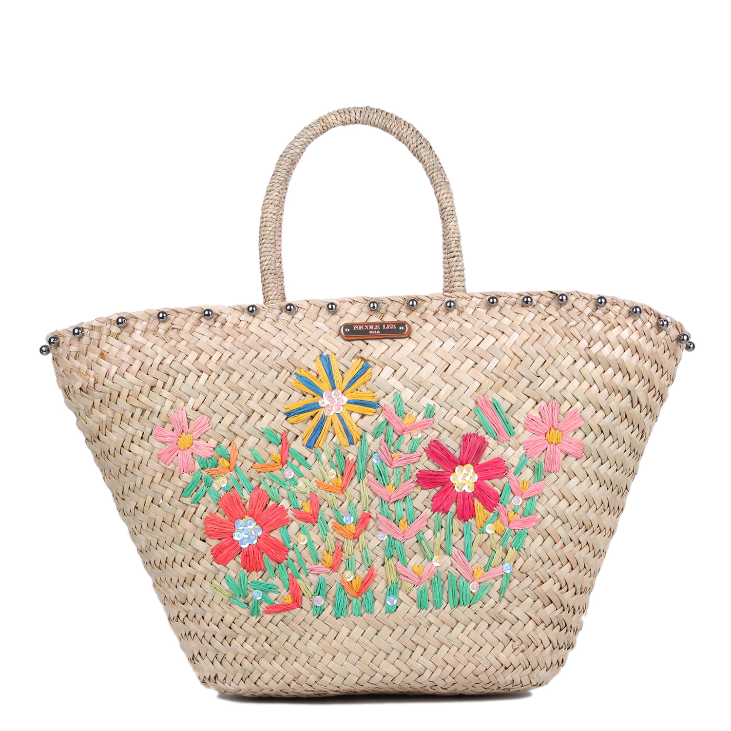 Nicole Lee Flower Emboidered Straw Tote Bag Nature